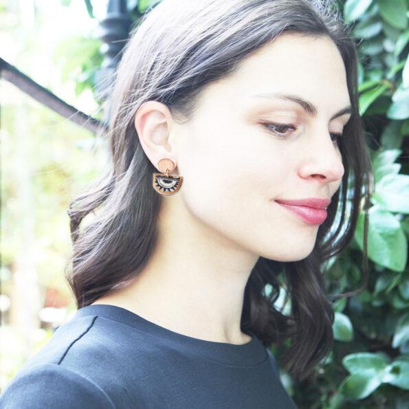 little half moon sun earrings gold julz model