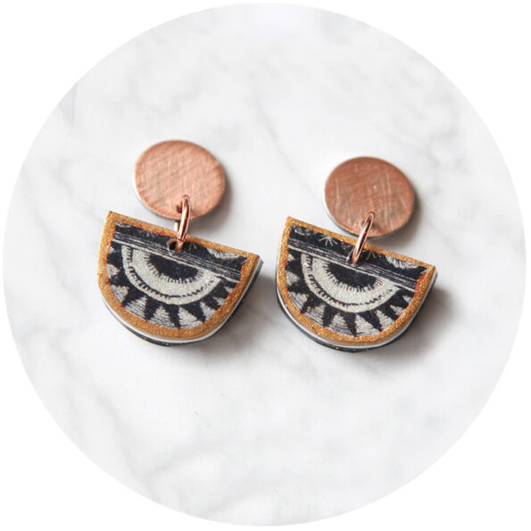 little moon stud earrings Next Romance Jewellery half moon black