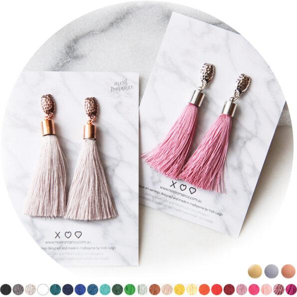 stud hammered tassel earrings australia next romance jewellery