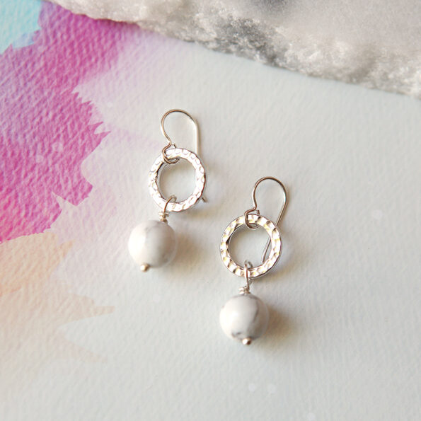 Next romance Marble Pearl Hammered howlite drop earrings gold silver rose