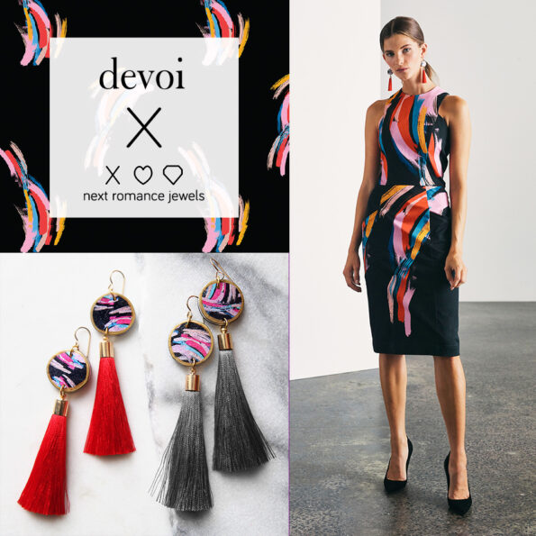Devoi electric heart collaboration earrings choose tassel colour and length
