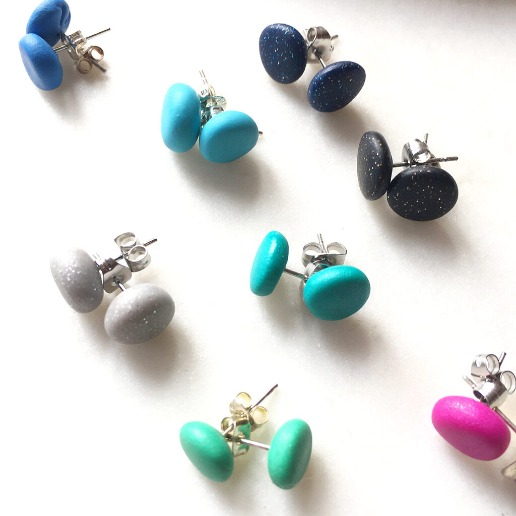 mini studs polymer colourful clay earrings new next romance unique fun jewellery