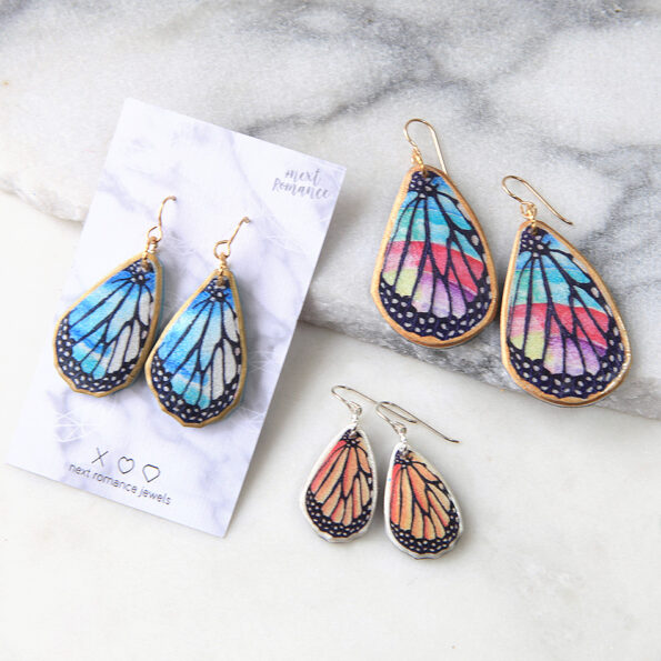 Butterfly wing earrings all colours sizes Next romance jewellery australia
