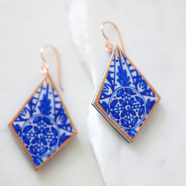 Sapphire INK diamond shape rose gold large earrings with beautiful blue ceramic-style art statement next romamce australian jewellery