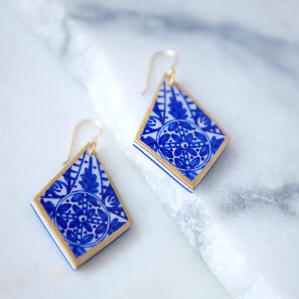 blue ceramic style rhombus design morocco next romance jewellery melbourne vicki leigh australia