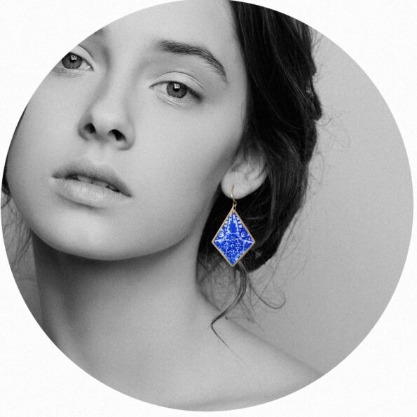 Blue INK Art Collection Earrings - sapphire rhombus Next romance jewellery handmade in Australia melbourne design
