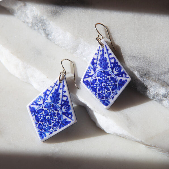 Blue INK Art Collection Earrings - sapphire rhombus Next romance jewellery handmade in Australia melbourne design make it collective jewellery