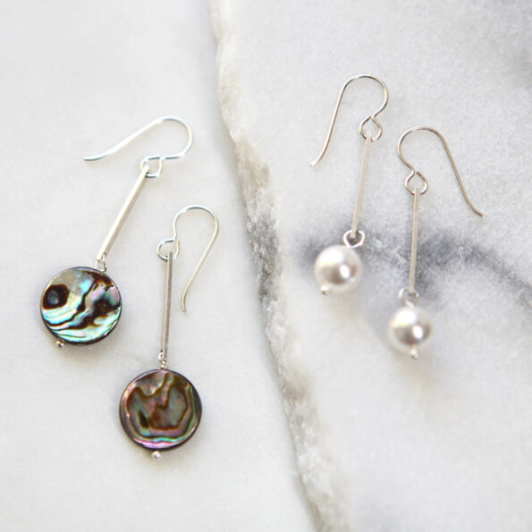 paua shell lollipop drop earrings NEXT ROMANCE jewellery and pearl