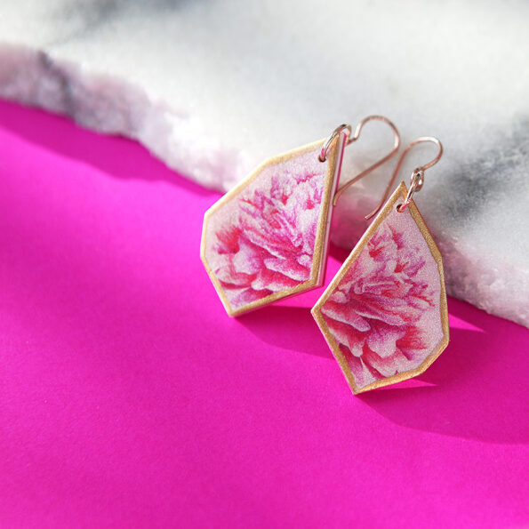 pink peony geo shapes rose gold earrings next romance jewellery