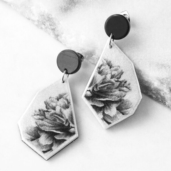 BW peony rose jewellery hand made in australia crop art tile earring GEOmetric NEXT ROMANCE stud