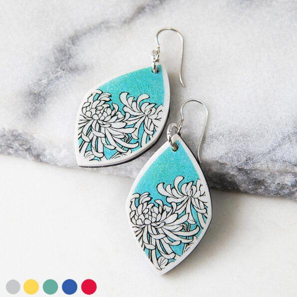 Chrysanthemum earrings green mint cols japanese illustration NEXT ROMANCE jewellery australia