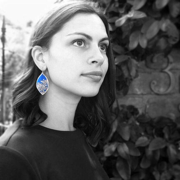 blue chrysanthemum earings on model next romance jewellery melbourne