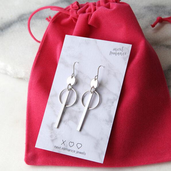 hoop bar earrings silver modern next romance jewellery