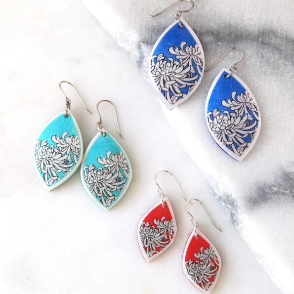 new chrysanthemum earrings polyresin next romance jewellery australia rose street market unique melbourne sydney designs ALL