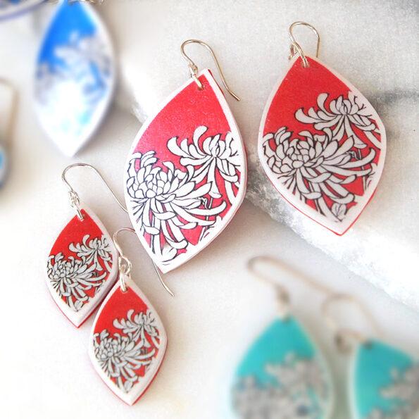 new silver red chrysanthemum earrings polyresin next romance jewellery australia rose street market unique melbourne sydney designs