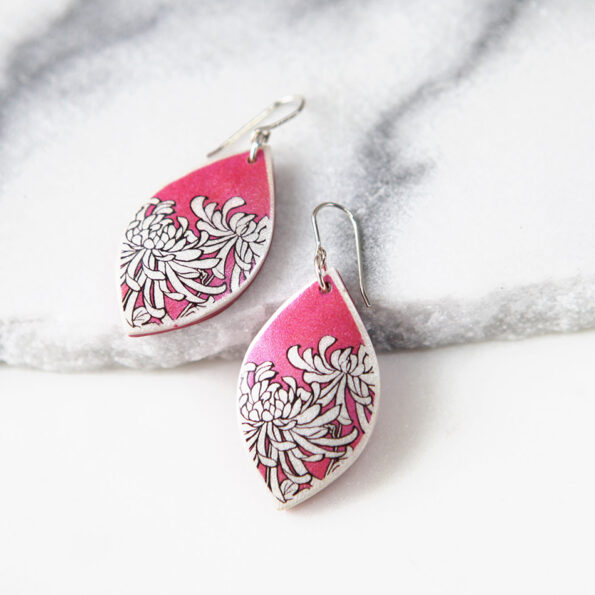 red chrysanthemum unique art earrings Next Romance Jewellery