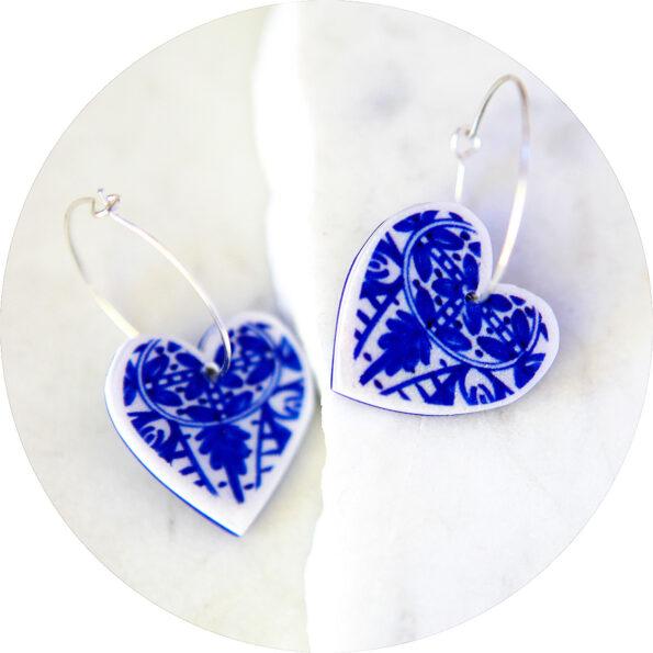 blue ceramic look heart hoop tile earrings next romance jewellery design silver unique jewellery