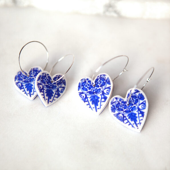 heart on hoop 25 or 30mm blue morocco ceramic-style next romance jewellery