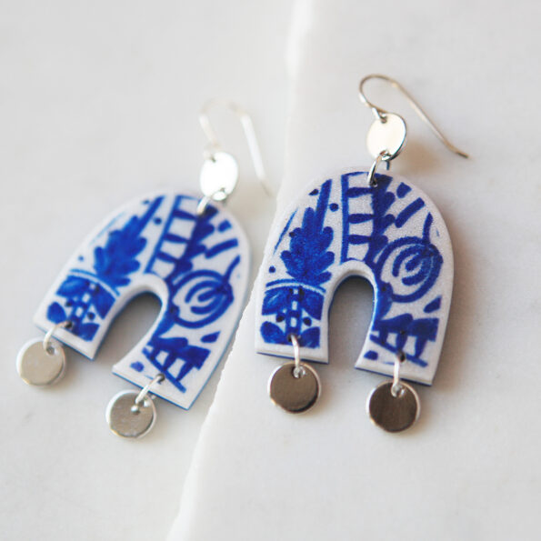 morocco u shape arch earrings silver coins blue paint design.jpg