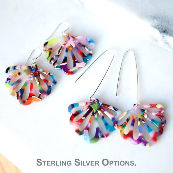 butterfly earrings with sterling silver hooks made in australia by Next romance jewellery melbourne unique art earrings