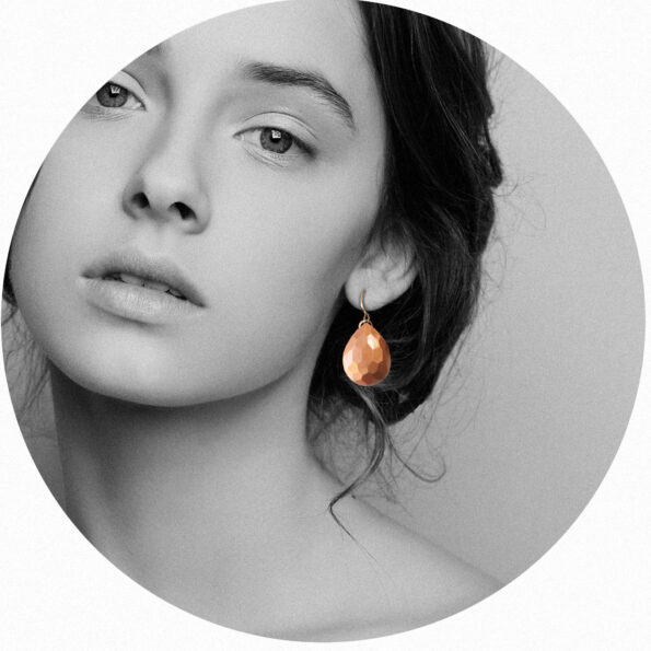 teardrop mica copper rose gold geometric facet earrings new next romance jewellery LUCY channel ten celebrity handmade in australia