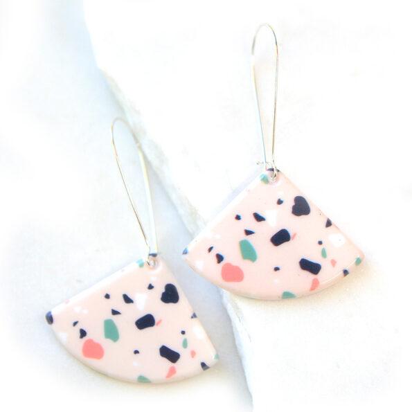 pink triangle terrazzo long hook earrings next romance jewellery unique