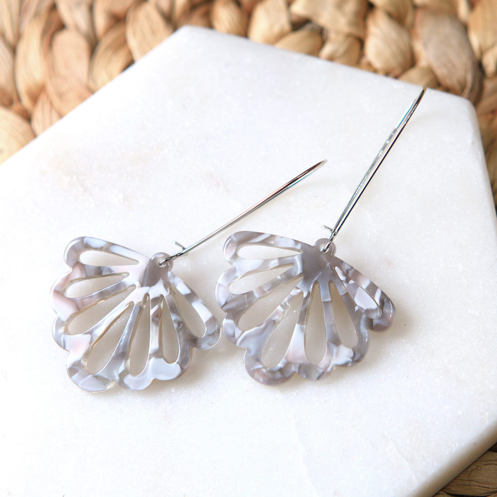 grey marble resin butterfly earrings long drop unique next romance jewellery australia.jpg