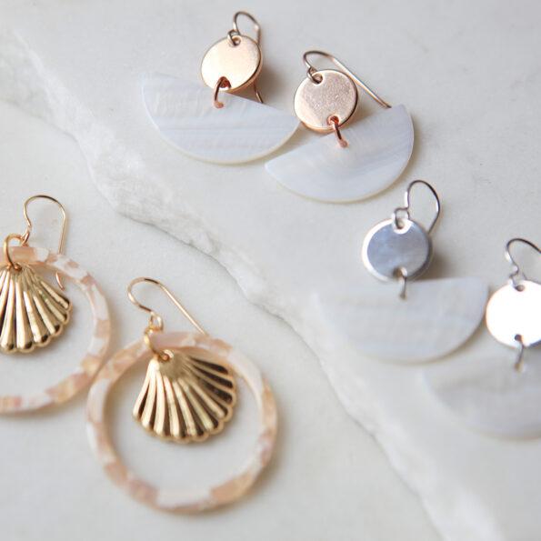 gold seashell hoop earrings next romance jewellery
