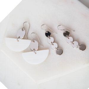 moon shell geometric earrings - silver gold rose next romance shell drop dangles silver