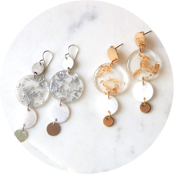 4 coin multi drop earrings silver gold foil flakes Next Romance new jewellery melbourne designer