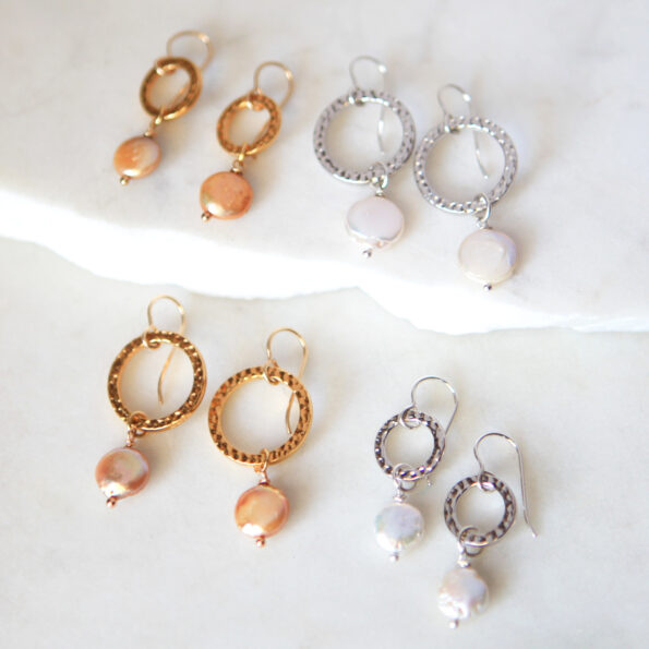 Pearl hammered HOOP earrings gold pearl new next romance jewellery made in australia design melbourne