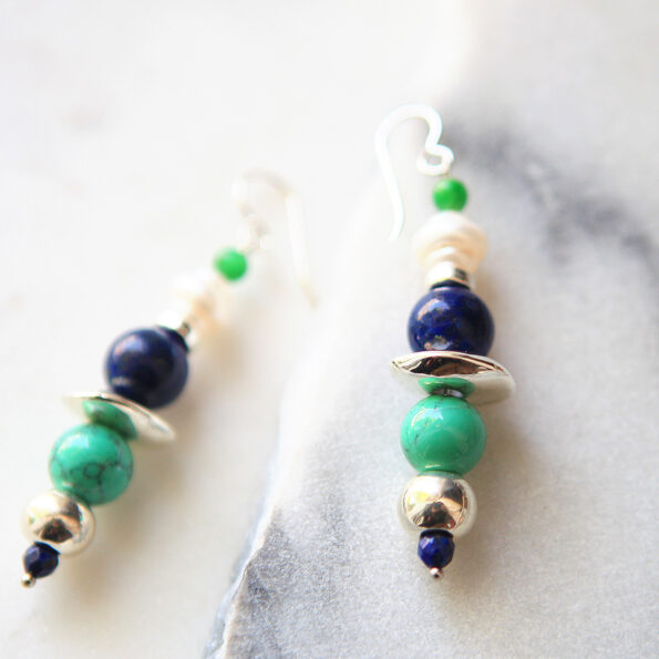 bead bar pearl lapis turquise silver unique earrings next romance