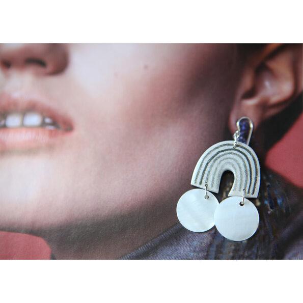 black MOP shell rainbow arch earrings next romance jewellery australia