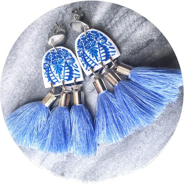 blue triple tassel earrings ink art earring NEXT ROMANCE