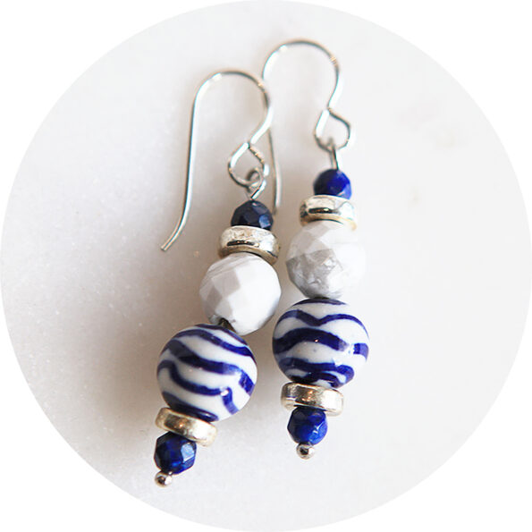 blue wave ceramic beads howlite gemstones and lapis lazuli earrings sterling silver next romance jewellery australia