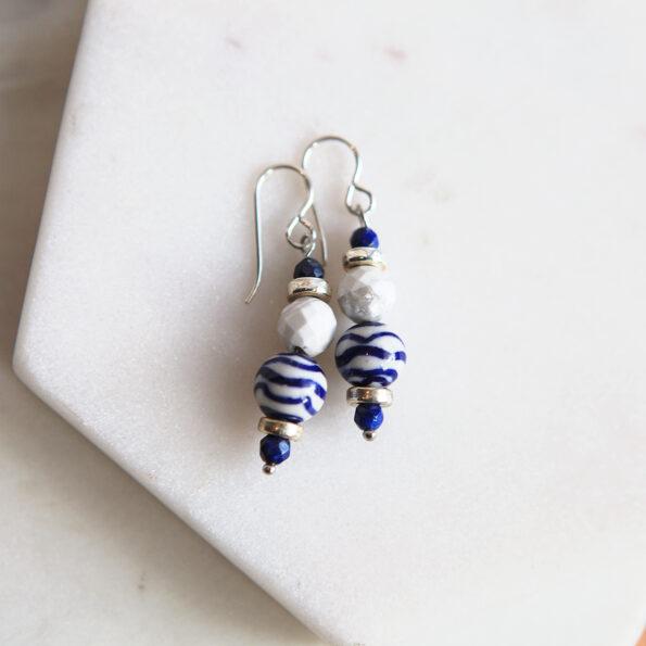 blue wavy resin handmade earrings next romance jewellery australia