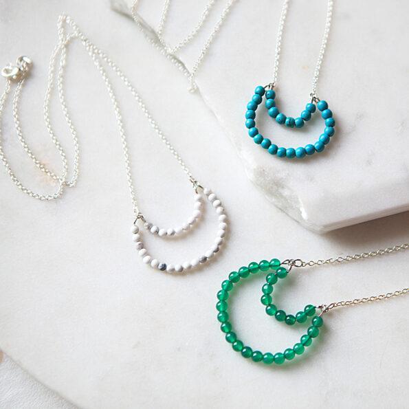gemstone moon bead necklace next romance jewellery australia howlite marble white blue green