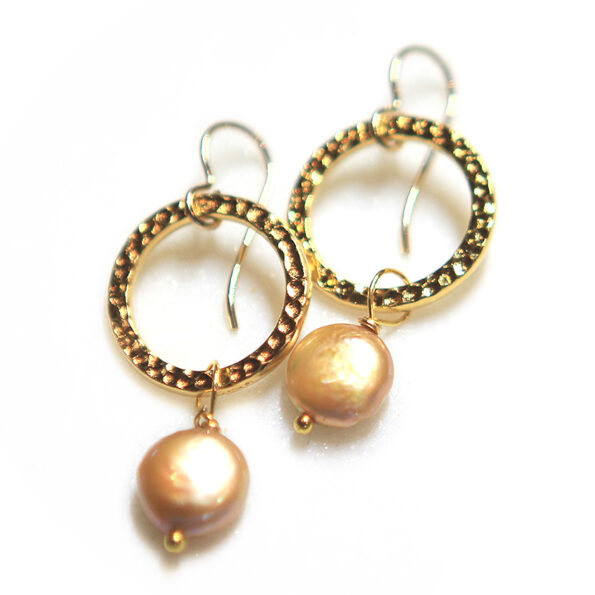 hammer hoop and pearl earringsgold next romance jewellery