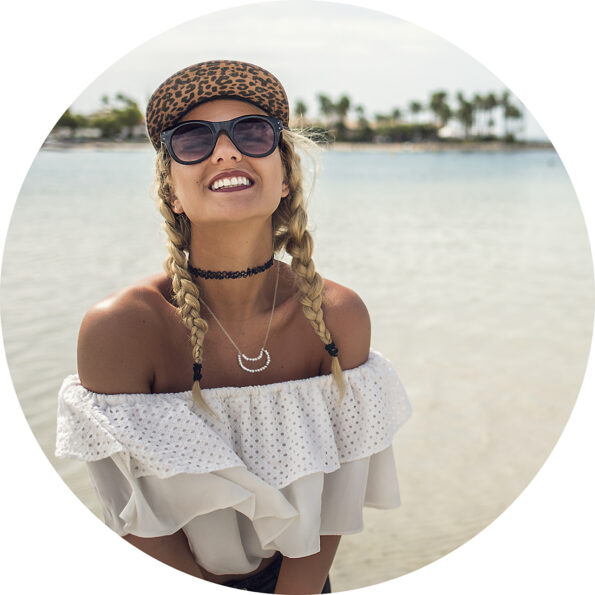 howlite moon necklace model on beach next romance jewellery australia
