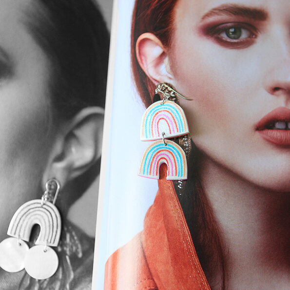 double orange teal rainbow unique earrings next romance jewellery made in australia