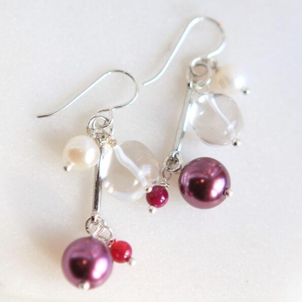 pink pearl bead bar cluster earrings new next romance jewellery australian design