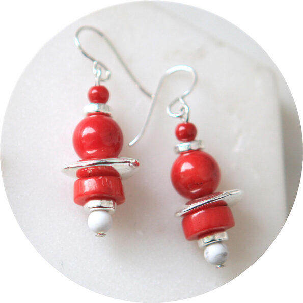 red bead bar earrings coral silver unique new next romance jewellery