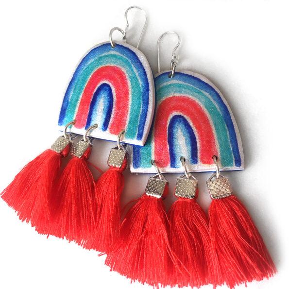 red triple tassel unique arty earrings Next Romance jewellery