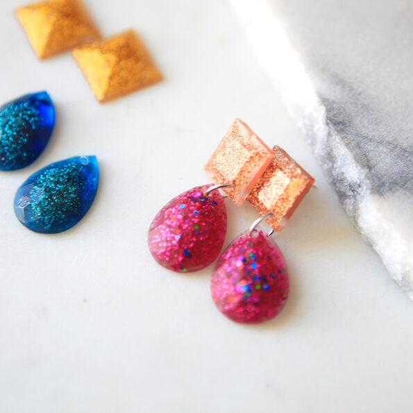 resin pink rose copper triangle teardrop next romance jewellery ♥earrings