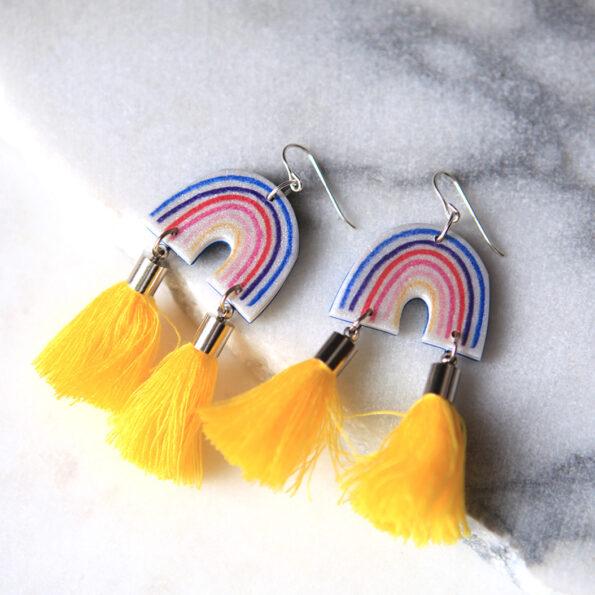 yellow tassel rainbow earrings unique jewelry next romance australian made