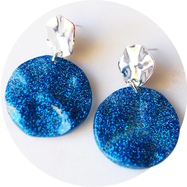 blue resin glitter wave earrings next romance jewellery australia