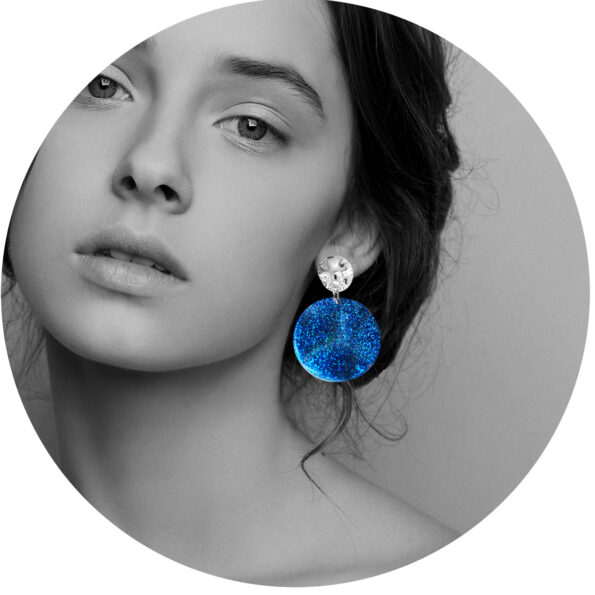 earring model blue glitter unique earrings