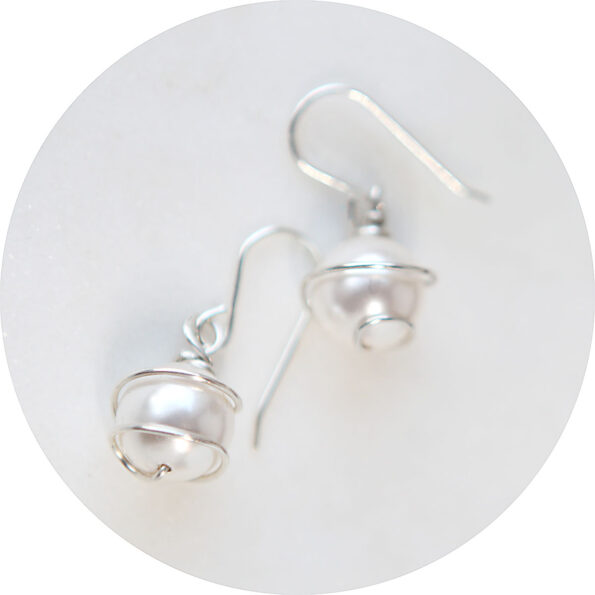 pearl wrapped in sterling silver earrings next romance jewellery handmade original jewellery australia