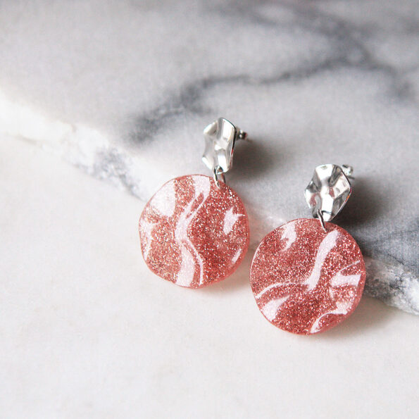 pink glitter wave earrings CROP NEXT ROMANCE jewellery australia crop
