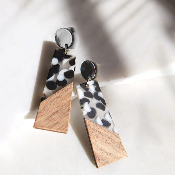 POLKAWOOD mono resin earrings silver gold NEW Next Romance Jewellery